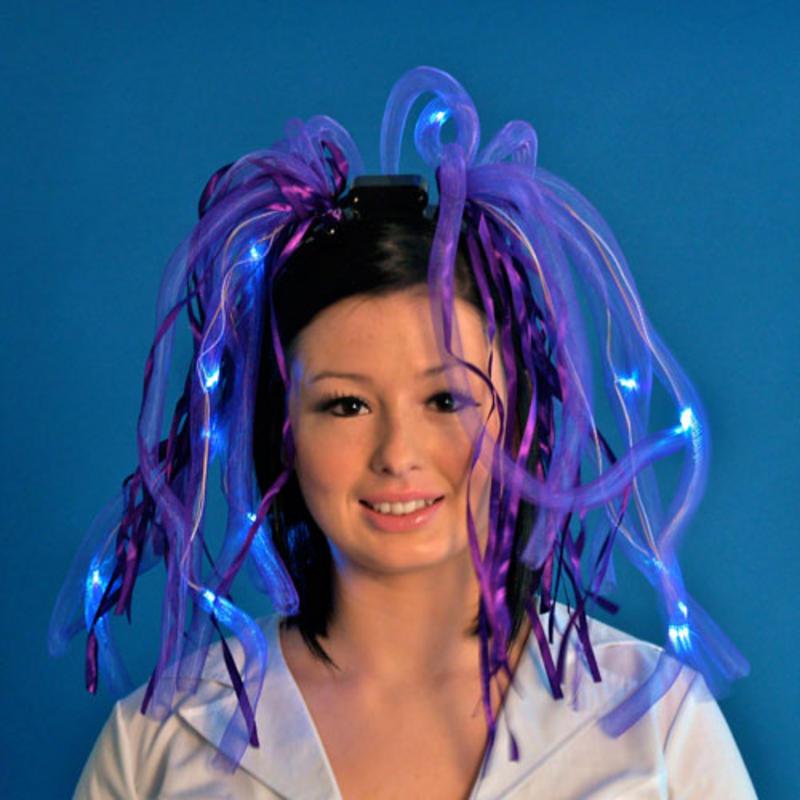 Brilliant Light Up LED Noodle Hair With Headband Purple ...
