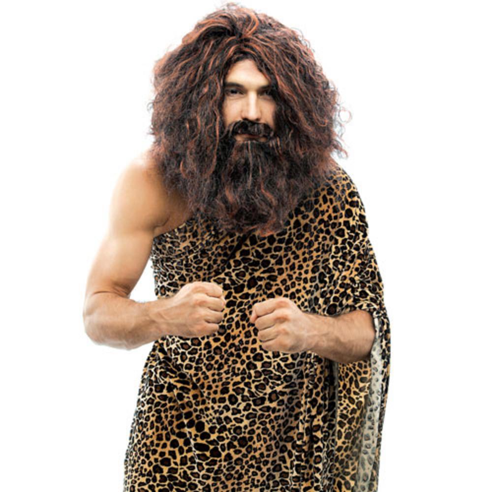 Caveman Beard : Fancy dress caveman wig kit matching beard moustache