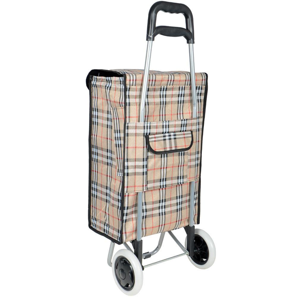 Beige Tartan Wheeled Folding Festival Shopping Trolley Bag