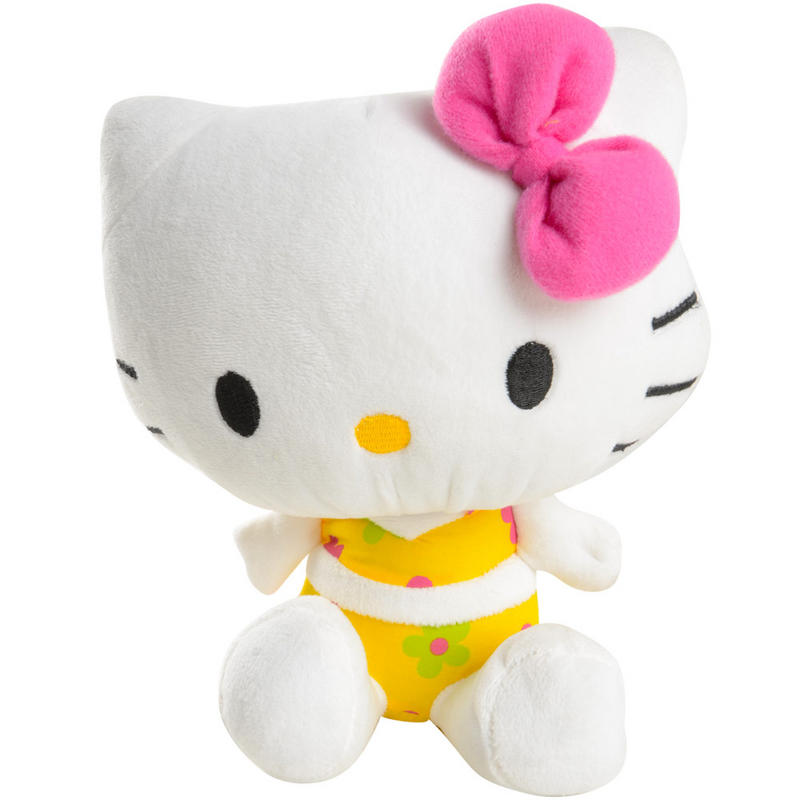 """21cm /8"""" Sanrio Hello Kitty Plush Summer Floral Sitting Soft Toy Wears A Yellow Bikini With Flower Print Preview"""