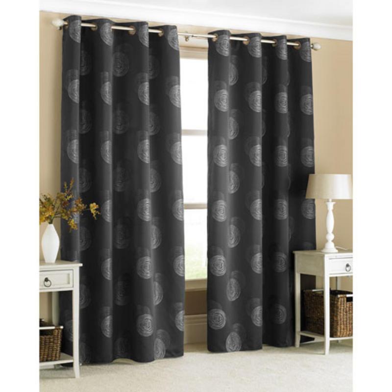 stylish ring top curtain pair spiro black with silver swirls 145 x