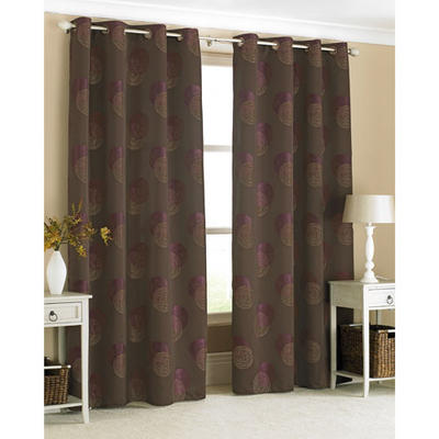 Stylish Ring Top Curtain Pair Spiro Chocolate With Purple Swirls 145 x 228cm