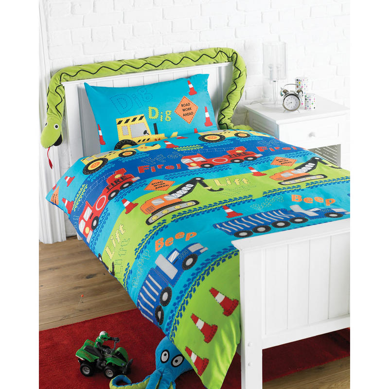 boys digger single duvet cover bed set pillowcase new