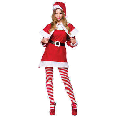 Ladies Mrs Santa Claus Christmas Festive Xmas Fancy Dress Costume Red One Size New