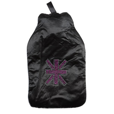Hot Water Bottle With Black Satin Cover With Diamante Cross Design