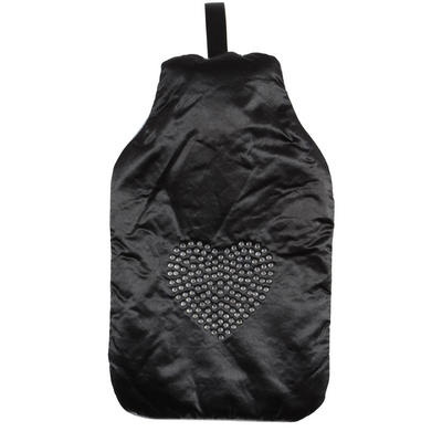 Hot Water Bottle With Black Satin Cover With Diamante Heart Design