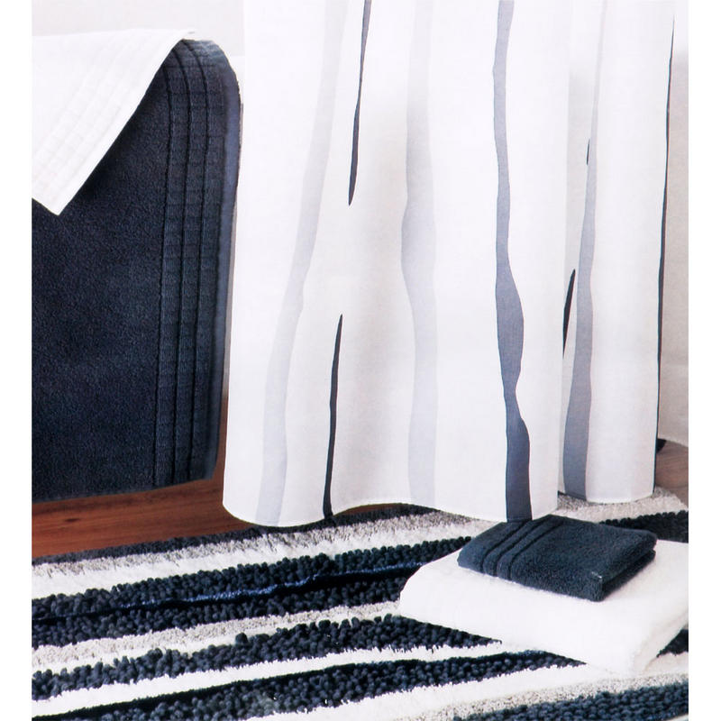 180cm Rivulettes Bath Shower Curtain W 12 Hooks White