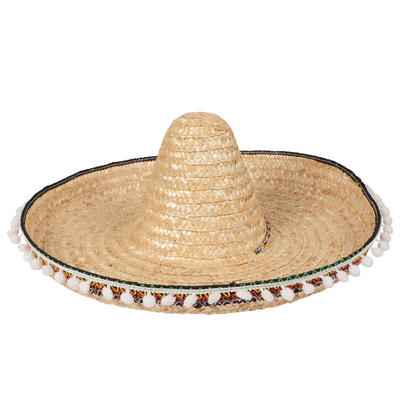 Deluxe Sombrero Fancy Dress Wild West Bandit Straw Hat with Pom-poms