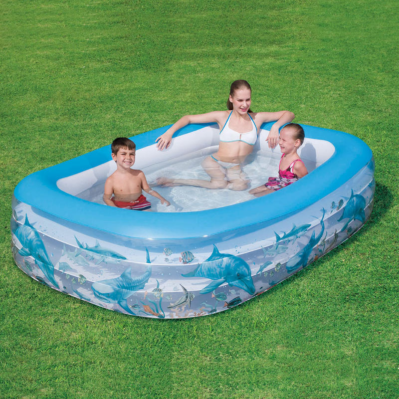 Inflatable Pool Slide Uk: Deluxe Rectangular Inflatable Family Sized Swimming