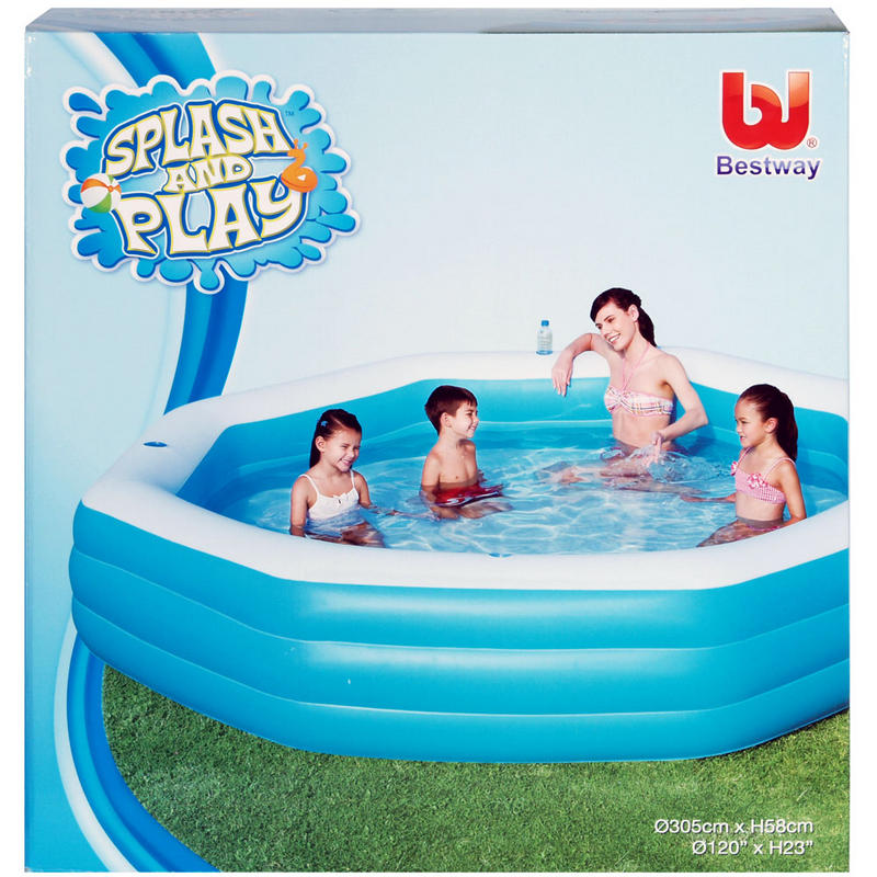 Inflatable Slide Paddling Pool: Bestway Deluxe Octagonal Inflatable Family Swimming