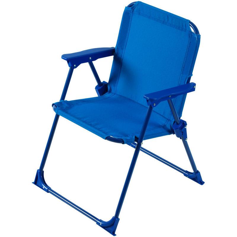 Kids girls two tone blue foldaway steel frame garden patio for Childrens garden chairs