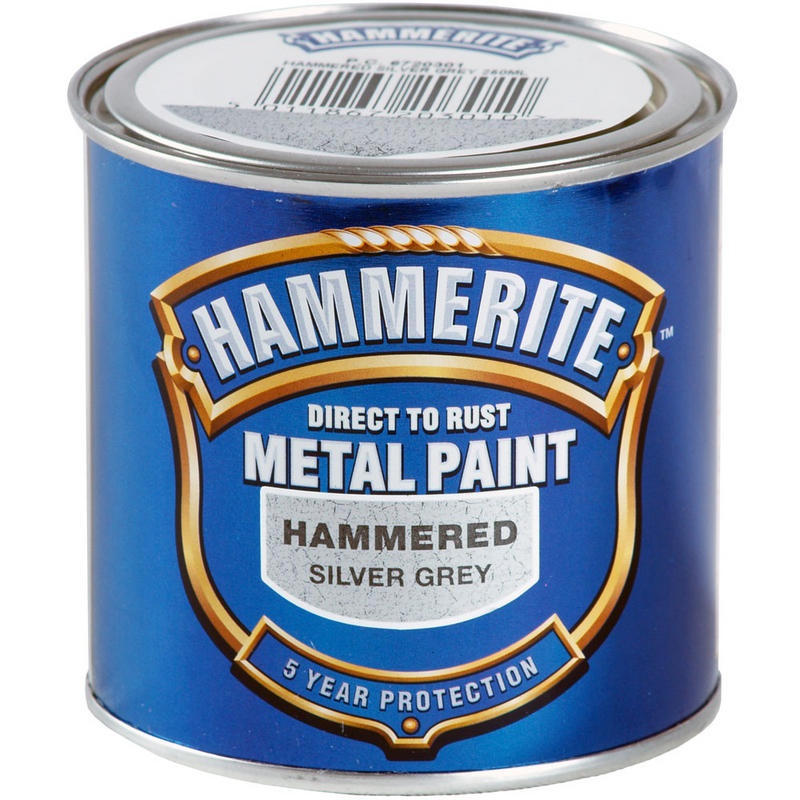 Hammerite direct to rust exterior metal paint hammered silver grey 250ml new - Exterior wood and metal paint set ...