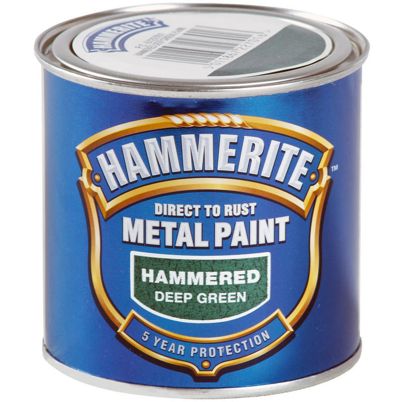 hammerite direct to rust exterior metal paint hammered deep green 250ml new