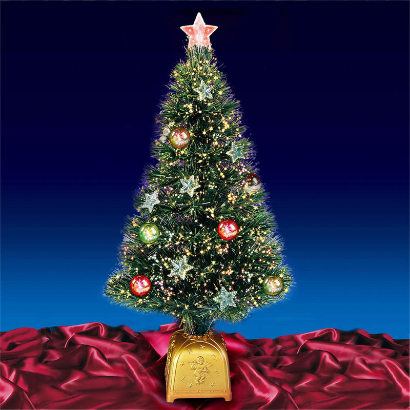 Fantastic 80cm Green Fibre Optic Christmas Tree With Gold Base, Stars ...