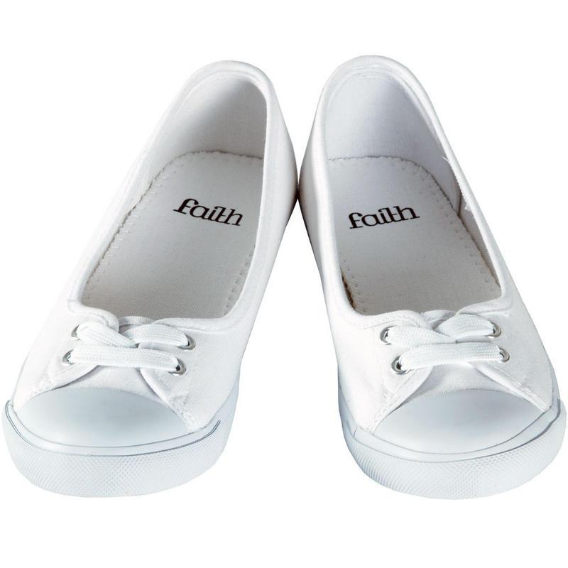 Ladies Faith White Canvas Flat Plimsoles Ballet Pumps Shoes UK Sizes 3-9 New