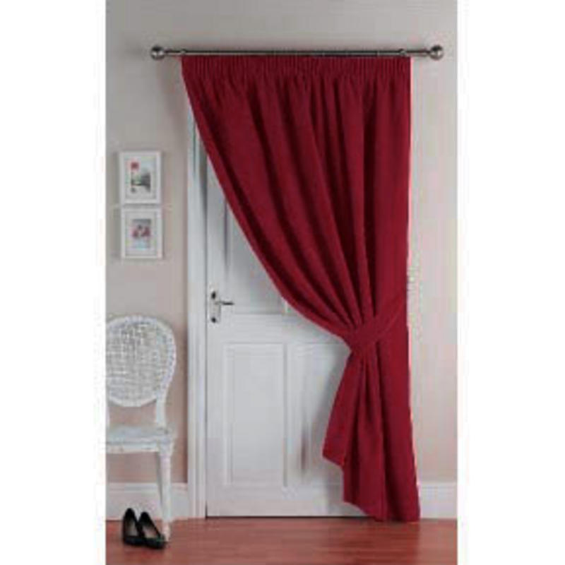 Velvet Energy Saver Thermal Home Door Curtain Red 117 x 213cm New ...