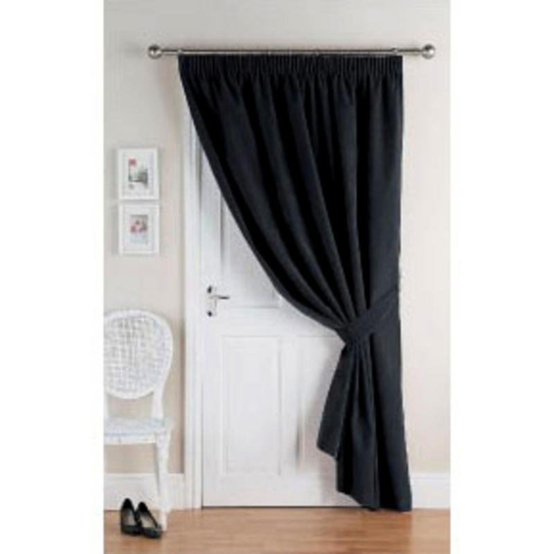 Door Energy Saver : Velvet energy saver thermal home door curtain black