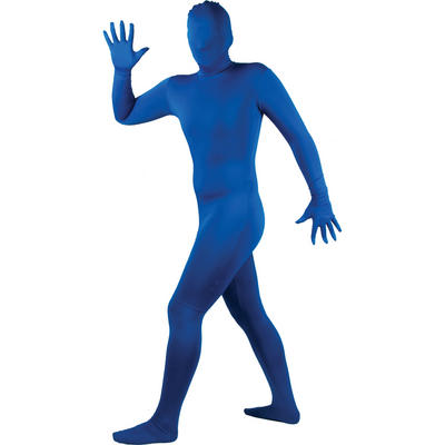Wicked Costumes SKINZ Lycra Stretchy Spandex Complete Body Sock Skin Tight Suit - Blue