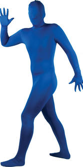 Wicked Costumes SKINZ Lycra Stretchy Spandex Complete Body Sock Skin Tight Suit - Blue Thumbnail 2
