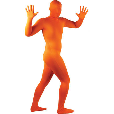 Wicked Costumes SKINZ Lycra Stretchy Spandex Complete Body Sock Skin Tight Suit - Neon Orange