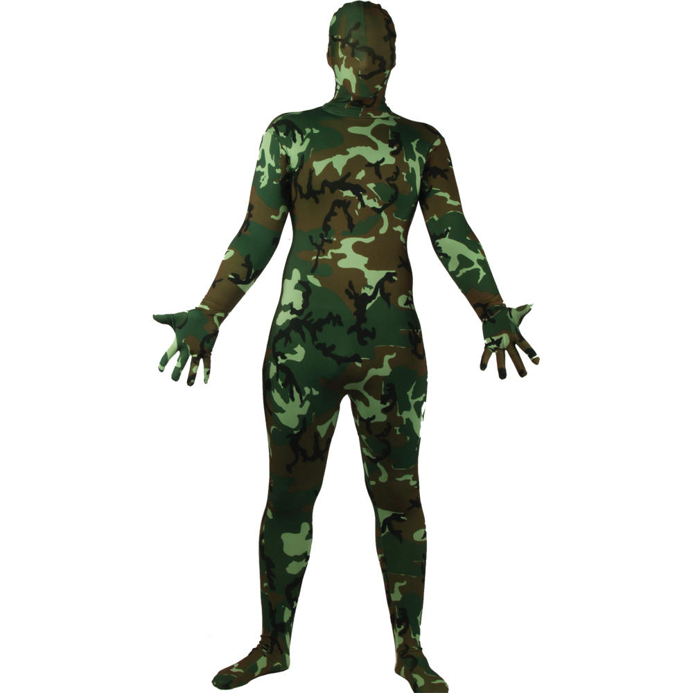 Wicked Costumes SKINZ Lycra Stretchy Spandex Complete Body Sock Skin Tight Suit - Camouflage Preview