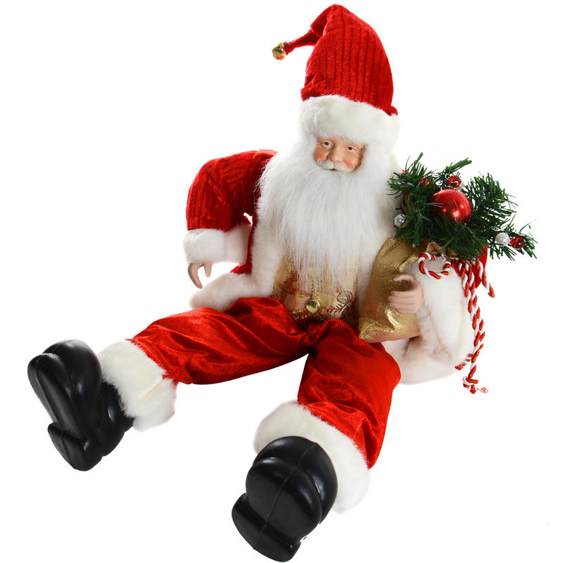 "Santa Claus Decorations Uk: 20"" 50cm Festive Sitting Santa Christmas Decoration With"