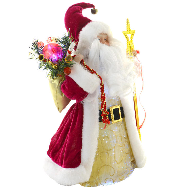 "Santa Claus Decorations Uk: 12"" Fibre Optic Festive Santa Claus Light Up Colour"