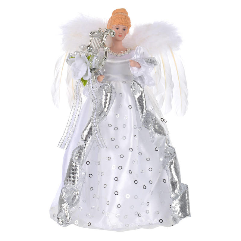 Festive 35cm silver angel with feather wings harp tree for Angel christmas tree decoration