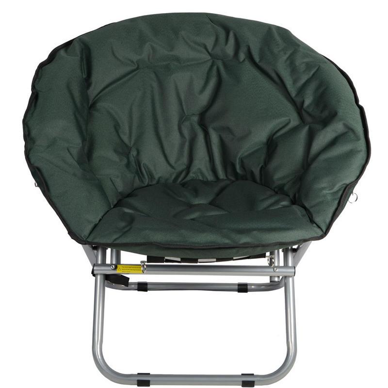 azuma padded folding outdoor garden camping festival circular moon chair seat green. Black Bedroom Furniture Sets. Home Design Ideas