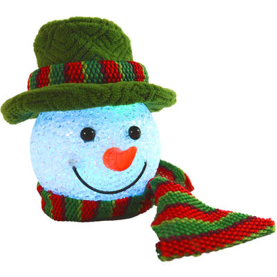 Festive 13cm Light Up Colour Changing Green Snowman Head Decoration With Hanging Loop