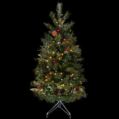 Festive 4ft 122cm Green Pine Prelit Decorated Snow Artificial Christmas Holiday Tree