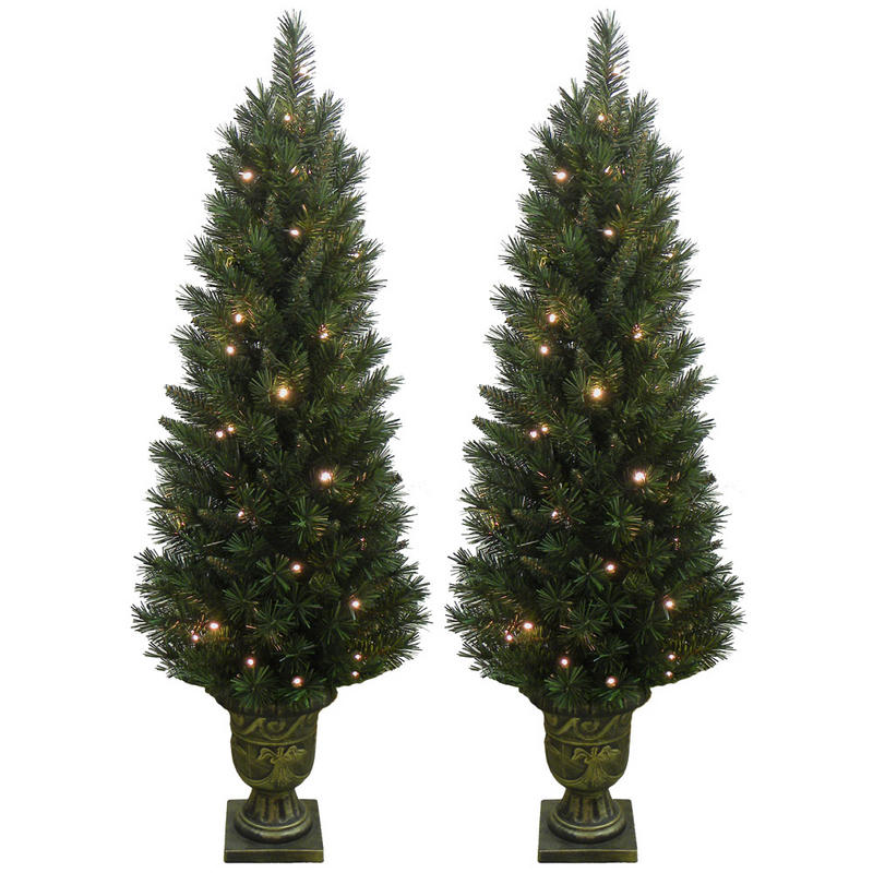 2 x Festive Pre Lit Pathway Artificial Pine Christmas Tree ...