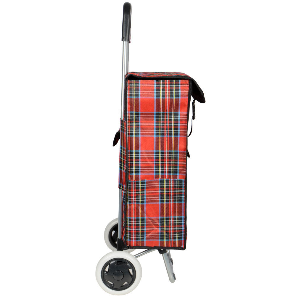 Traditional Red Tartan Wheeled Folding Grocery Shopping