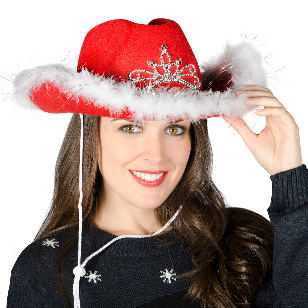 ladies light up festive xmas flashing red cowboy hat with