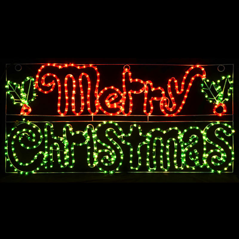 Merry Christmas Decorations Outdoor : Red green merry christmas led rope light decoration indoor