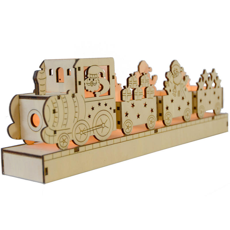Festive battery operated light up led wooden train scene for Wooden christmas decorations