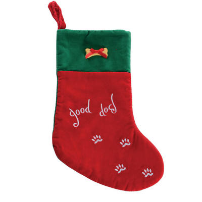 "Red & Green Embroidered ""Good Dog"" 35cm Pet Christmas Xmas Stocking"