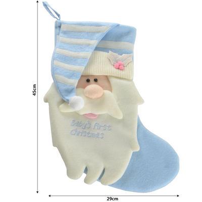 "Baby Boy Blue ""Baby's First Christmas"" Santa Christmas Xmas Stocking"