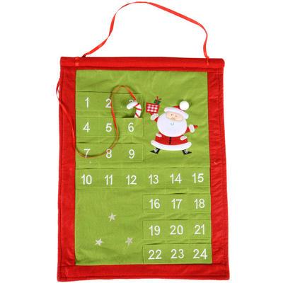 Gorgeous Festive Red & Green Felt Fabric Santa Christmas Advent Calendar