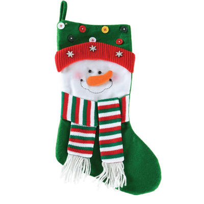 Fantastic 53cm Green Snowman Childrens Kids Christmas Xmas Stocking With Buttons