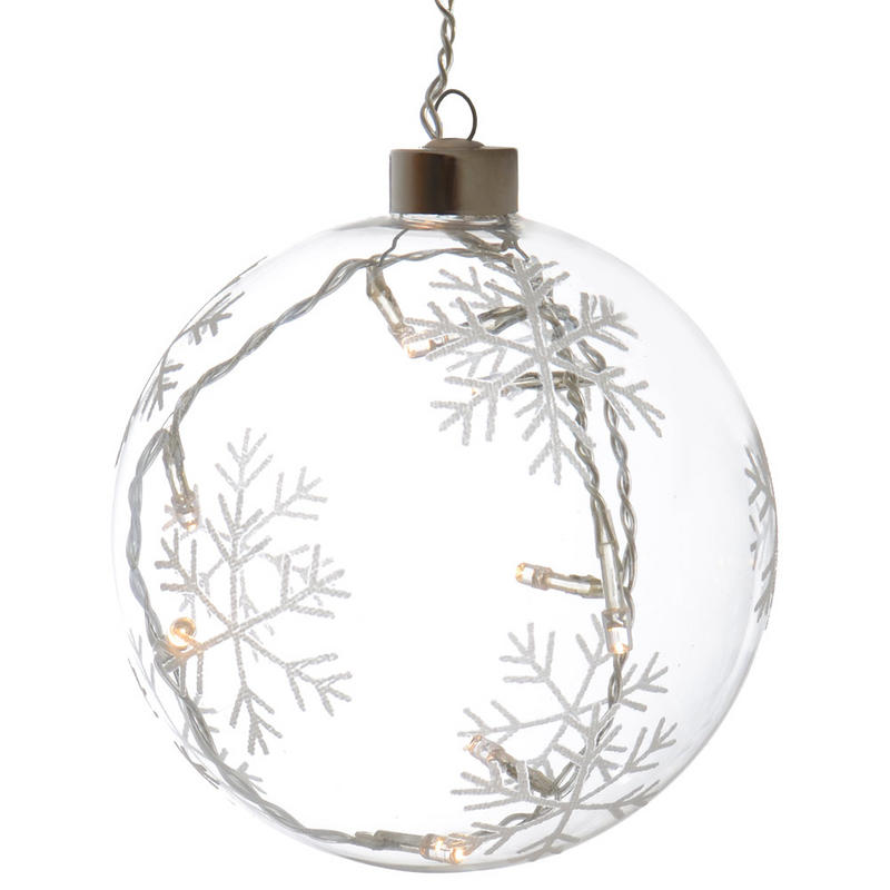13cm light up snowflakes hanging clear glass ball for Light up christmas decorations