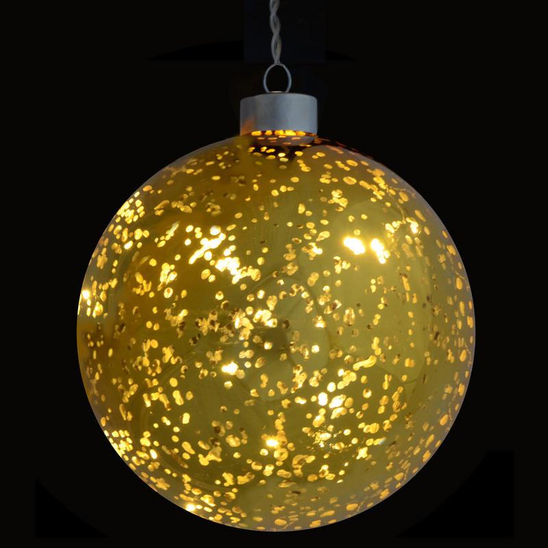 13cm Light Up Gold Plated Hanging Glass Ball Christmas