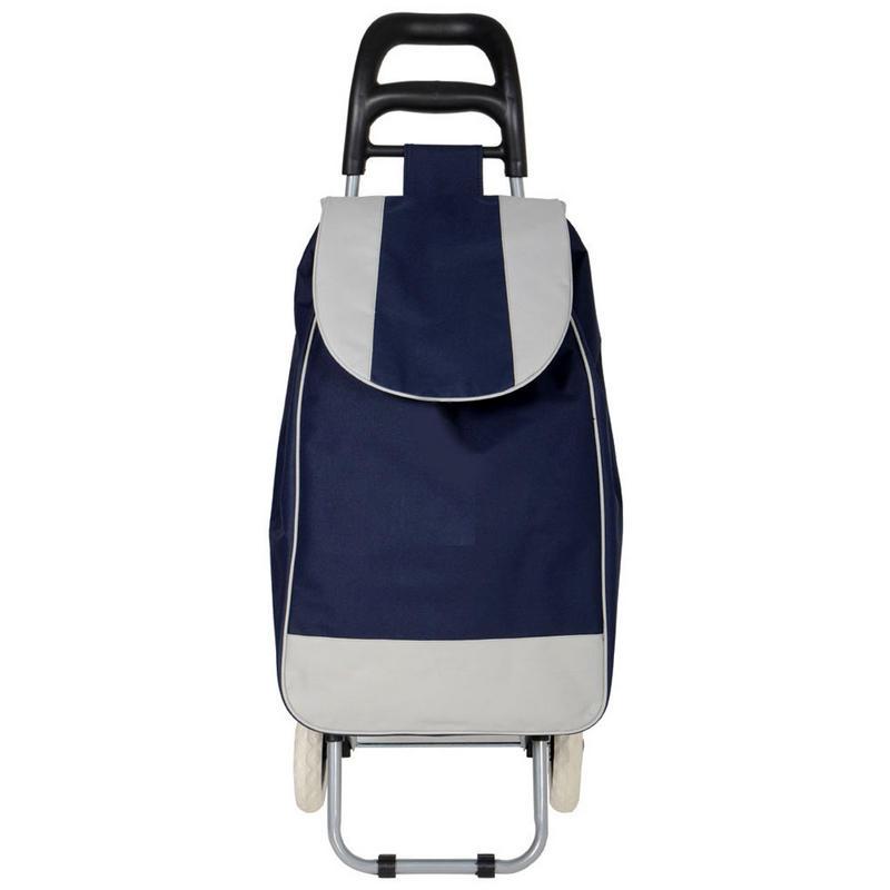 Navy Folding Wheeled Grocery Cart Shopping Trolley Bag