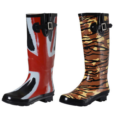 Ladies Glossy Funky Patterned Festival Wellies Wellington Boots New