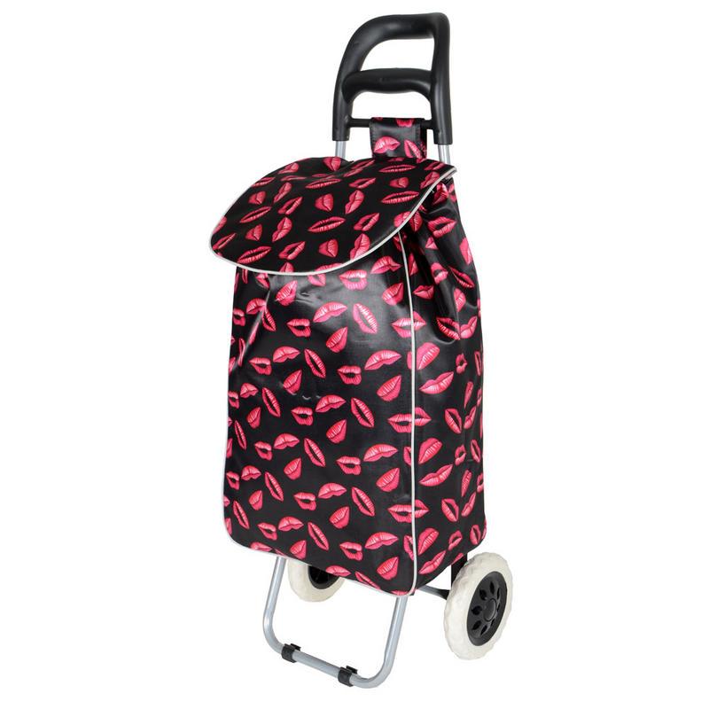 Black Pink Lips Folding Wheeled Festival Shopping