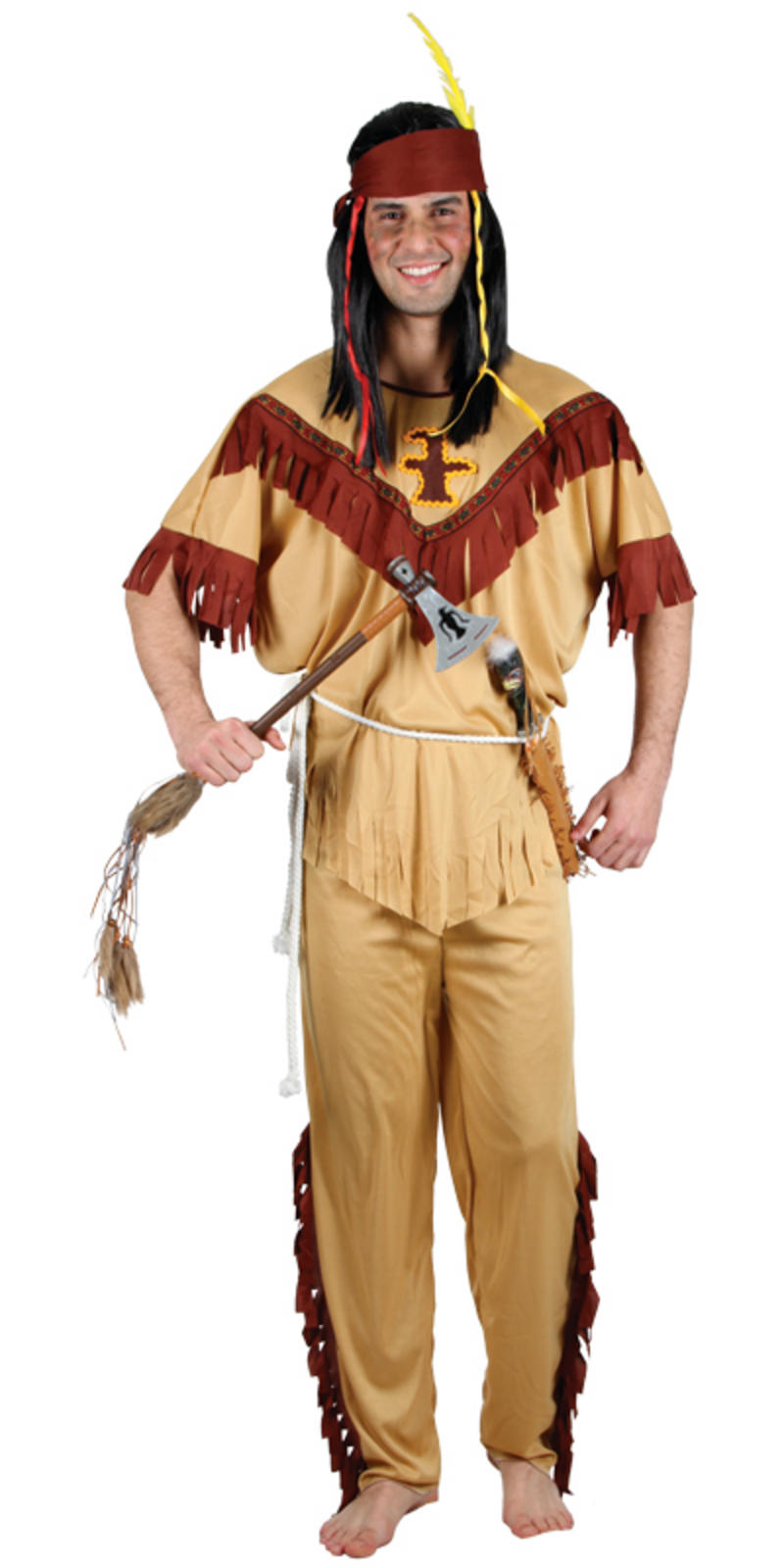 Wild West Native Red Indian Mens Fancy Dress Halloween -3435