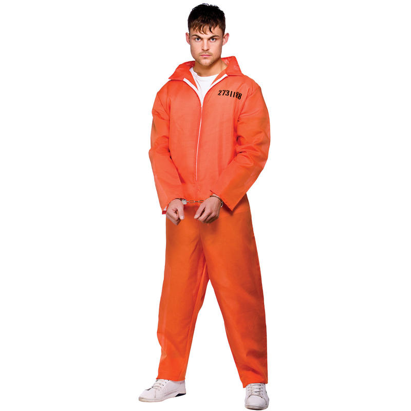 Mens Orange Convict Prisoner Jumpsuit Fancy Dress Costume