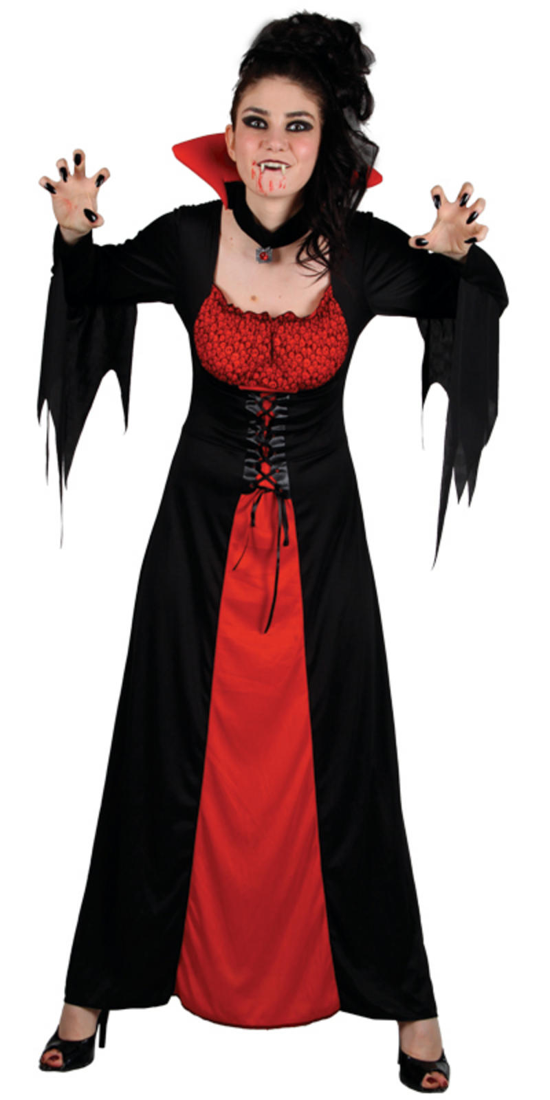 classic vampiress vampire ladies fancy dress halloween party costume new. Black Bedroom Furniture Sets. Home Design Ideas