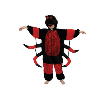 Childrens Black & Red Spider Creepy Crawlie Fancy Dress Up Party Costume Outfit