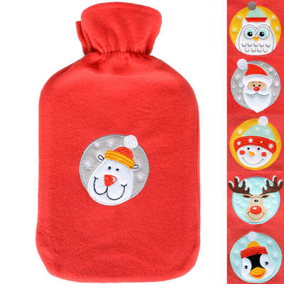 Thermotherapy Xmas Hot Water Bottle With Embroidered Motif Red Cover